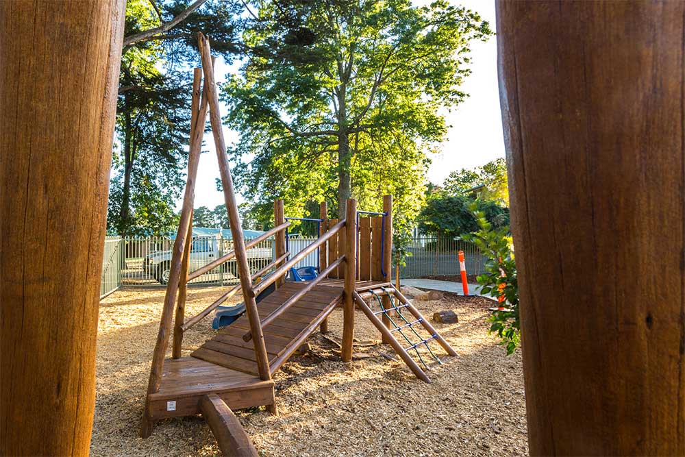 natural timber, wood, play area, children, kinder, play space, playground, balance, climb, kids, children, young, explore, play based, learning, outdoors