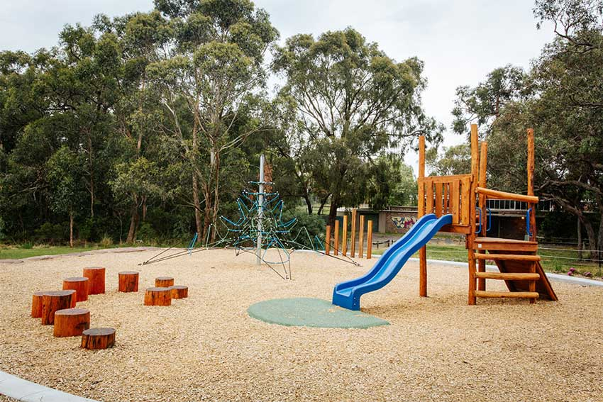 blue slide, children, kids, explore, fun, playground, playspace, play space, belgrave, reserve, footy ground, football, cricket