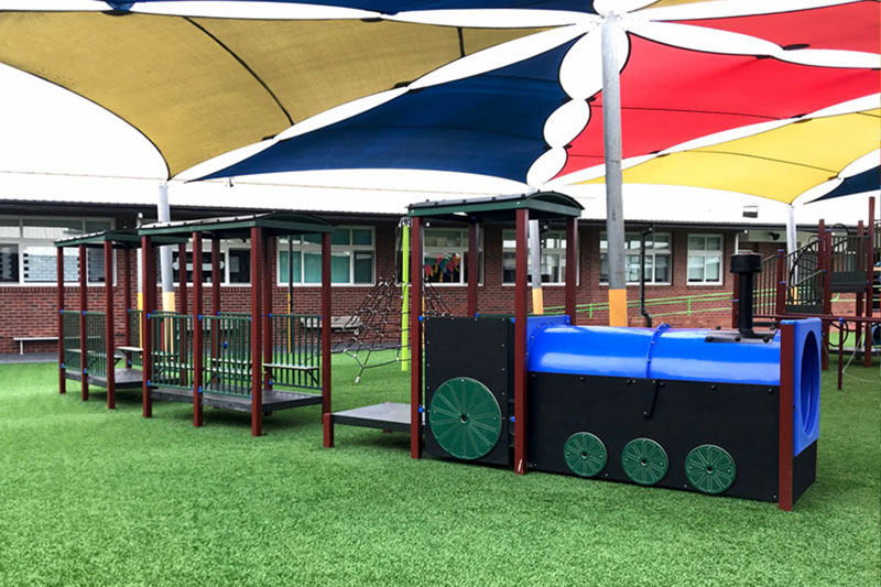 sirius college, activity playgrounds, school, kids, playground, older kids, large, big, train carriage, blue