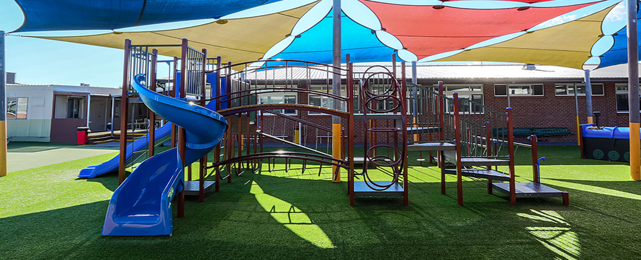sirius college, activity playgrounds, school, kids, playground, older kids, large, big, double blue plastic slide, pommel walk