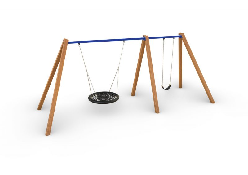 Birds Nest with Single Swing – Timber