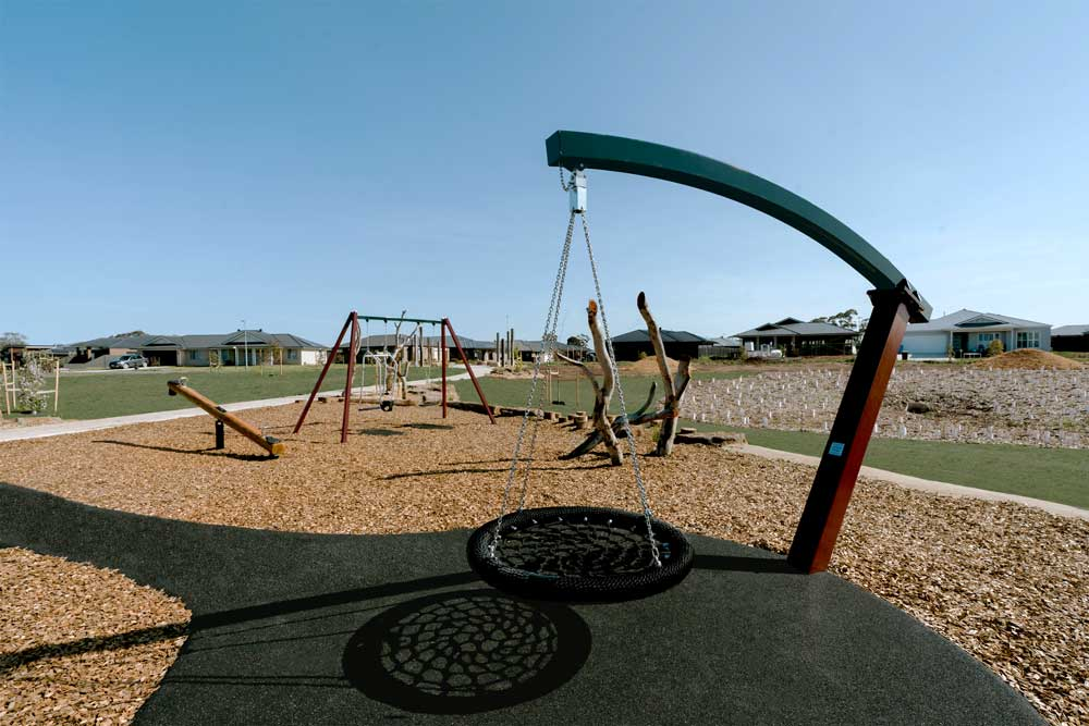 Activity Playgrounds, playground, melboure, victoria, swing, timber, natural, cobains reserve, sale, wellington shire, birds nest, swing