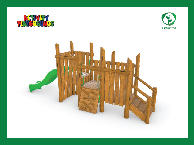 Activity playgrounds, playground, fort, structure, climbing, net, tower, slide, shade, instinctive, timber, wood, natural, nature, play