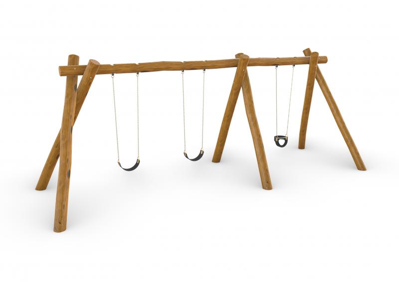 Natural Timber Triple Swing