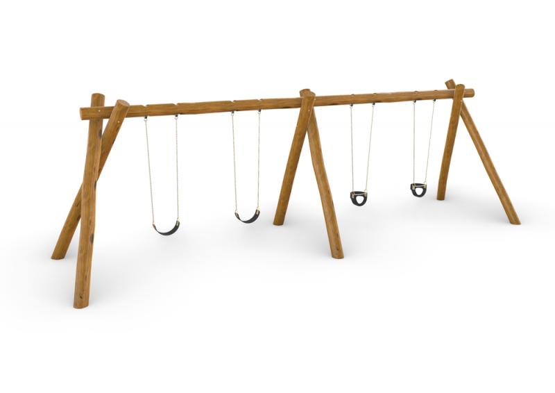 Natural Timber Quadruple Swing