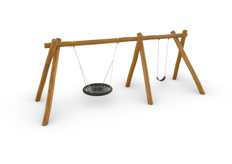 Natural Timber Birds Nest With Single Swing